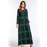 Платье большого размера бледно-зеленого цвета в большой квадрат